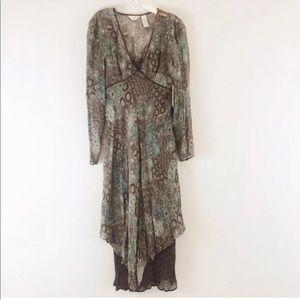 J Jill Layered Sheer Long Sleeve Dress Sz 12 NEW